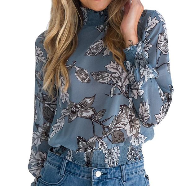 a595232fbdc4 Compre Camisa De Gasa Mujer Blusa De Manga Larga Top Moda Vintage Floral  Blusa De Impresión Camisa Chemise Blusa Feminina 2019 Azul A $22.81 Del ...