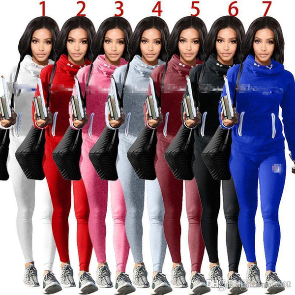 19SS Hot Sale Women Fashion Tracksuit Autumn Winter Hoodies and Pants 2 Piece Set Outfit with Pocket Female Womens Clothes Sweat Suits