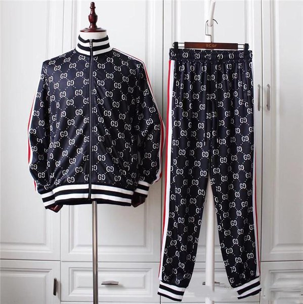 Vêtements de sport pour hommes de haute qualité couture sportswear manteau veste + pantalon costume sweat shirt veste