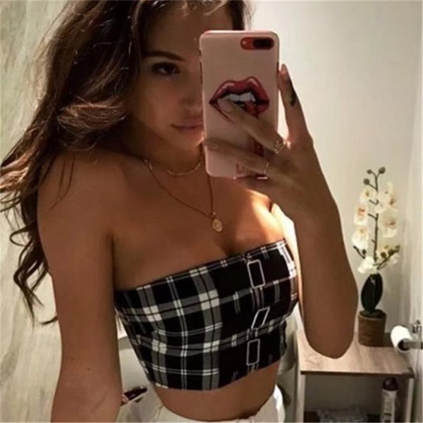 wholesale Women Sexy Strapless Boob tube crop top summer 2019 new female plaid Bandeau Bra Fashion front buckle tee top l
