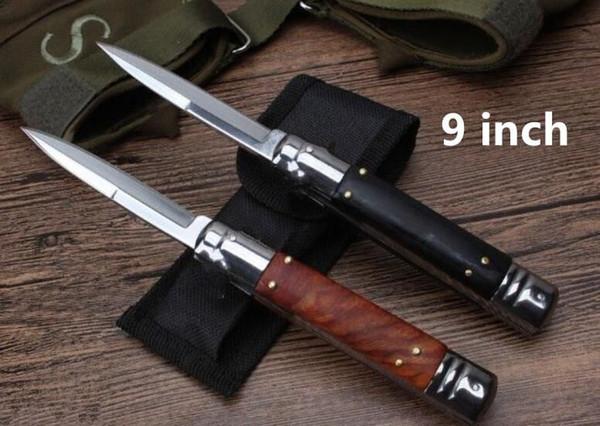 OEM mafia 9 pollici rosso nero manico in legno singola azione tasca ITA coltello auto coltello da caccia campeggio regalo di natale coltelli per uomo 1 pz