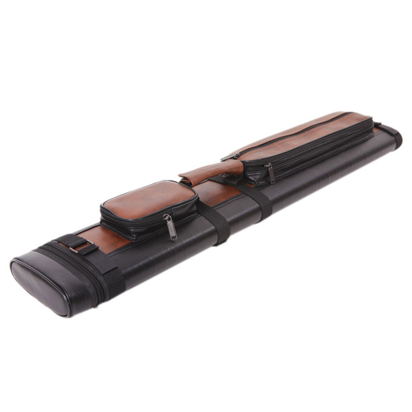1 2 4-Hole Imitated Leather Pool Cue Case Black & Brown