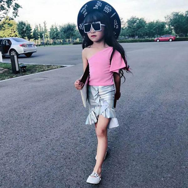 Sirena Trajes de verano para niñas Arcos de moda Tops Camiseta + falda de cola de pescado Conjuntos para niños Trajes para niños Trajes de vestir para niñas Ropa de diseñador para niños A4467
