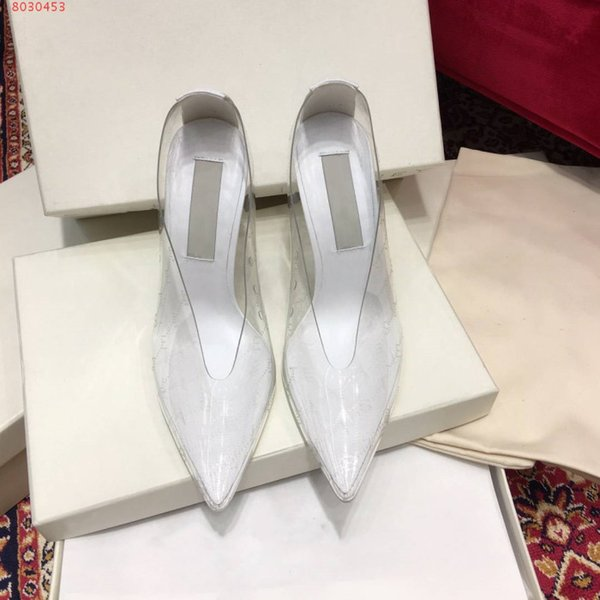 The latest fashion women's high heel exclusive stiletto leather and PVC pointy transparent high heel dress shoes