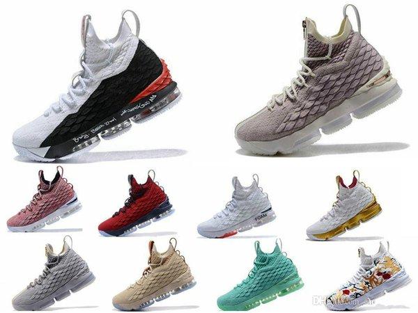 Hochwertige neueste Asche Ghost Lebron 15 Basketball Schuhe Ankunft Turnschuhe 15 s Mens Casual 15 s King James Sportschuhe LBJ EUR 40-46