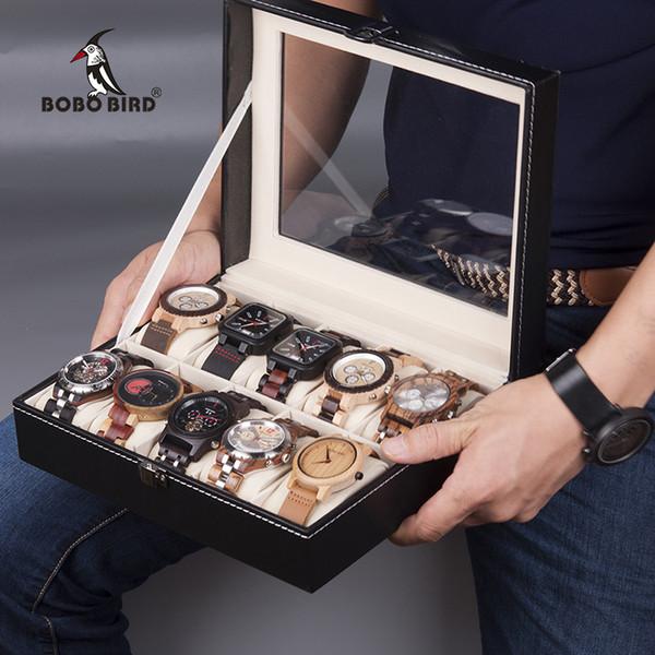 OBO BIRD Relógios Organizador Caixa De Armazenamento De Couro Relógio De Pulso Titular Caso De Exibição De Jóias BOBO BIRD Relógios Display Box Organizador Stor ...