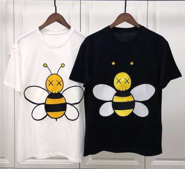 19ss Arı nakış t-shirt çıkartmalar deri işlemeli erkekler ve kadınlar kısa kollu t yeni bahar ve yaz gelgit marka pamuk gömlek tee