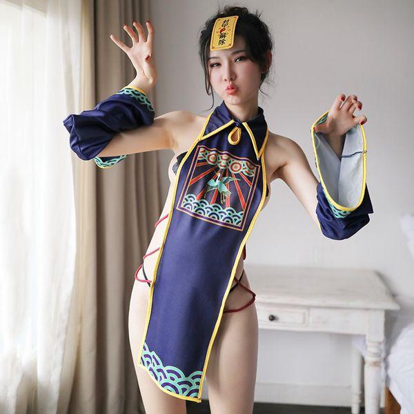 Europa e Stati Uniti Sexy trasparente da donna pigiama stampato Gonna a cintura Spandex Giarrettiera Taglie forti intimo