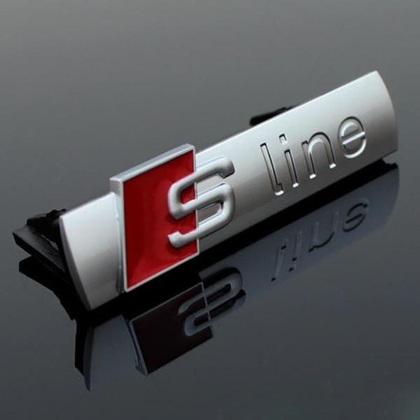 Badges voiture pour Audi Q3 Q5 Q7 A3 A5 RS Métal 3D Sline ligne S Badge Logo CAPOT Grill Grille Emblem avec base