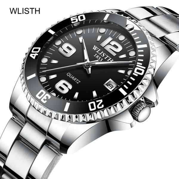 2019 Wlisth Uhr-Mann-Drehbare Lünette Gmt Saphirglas 30m Wasserdichte Edelstahl Sport Fashion Quartz Reloj Hombre