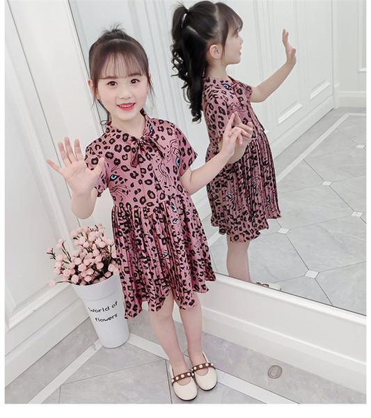 2020 Stile abbigliamento manica corta bambini abiti con spalline Leopard 2020 ragazze vestiti da estate per le ragazze sexy Vestiti corti