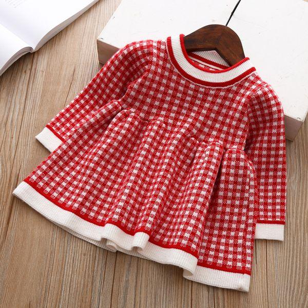 b066878e Fashion Girls Dress Long Sleeve Knitted Plaid Baby Girl Winter Dress  Sweater Outfits Children Wool Kids