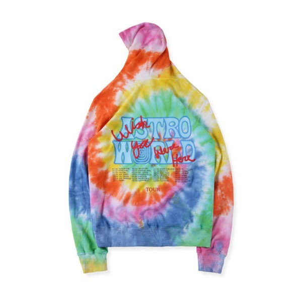 19FW Astroworld Cute Bear Rainbow Tie-dyed Sweater Mens Designer Sweater Womens High Quality Hip Hop Designer Hoodies HFSSWY223