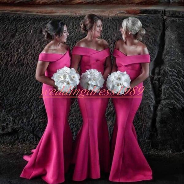 Mütevazı Kapalı Omuz Mermaid Uzun Gelinlik Modelleri Saten Ucuz Hizmetçi Onur Elbise Düğün Konuk Akşam Parti Törenlerinde Örgün Balo Elbise