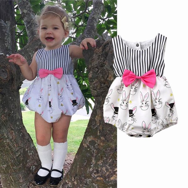 Baby Girls Clothing Bunny Rabbit White Bowknot Striped Romper Playsuit Jumpsuit Easter Outfit Clothes Summer Kids Boutique Clothing