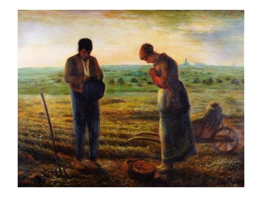 High Quality Handpainted & HD Print Classical Art Oil Painting Jean-Francois Millet The Angelus On Canvas Wall Art Home Office Deco p149