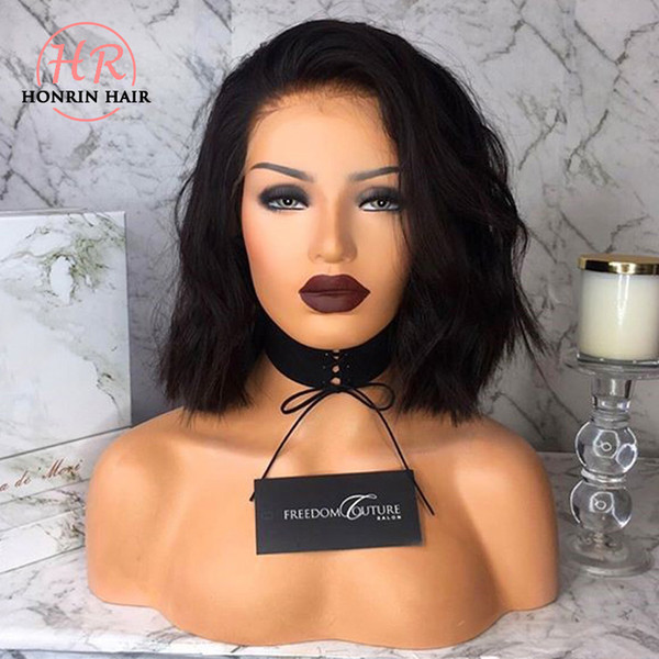 Honrin Hair Natural Wave 360 Lace Wig Bob Wavy Pre Plucked Bleached Knots Brazilian Virgin Human Hair 150% Density With Baby Hair