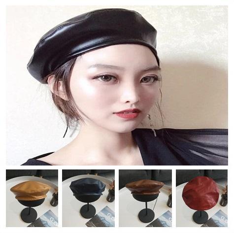 Noir solide café café chameau vin rouge marine mode française Cap femmes Vintage Faux PU en cuir béret chapeau automne hiver bonnet plat