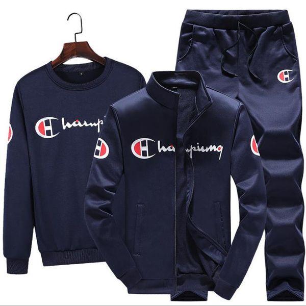 3 ADET Setleri (Ceket + Pantolon + hoodies) Eşofman Erkekler Spor Marka-Giyim Rahat Eşofman Erkekler chándal hombre Ince Eşofman Ensem