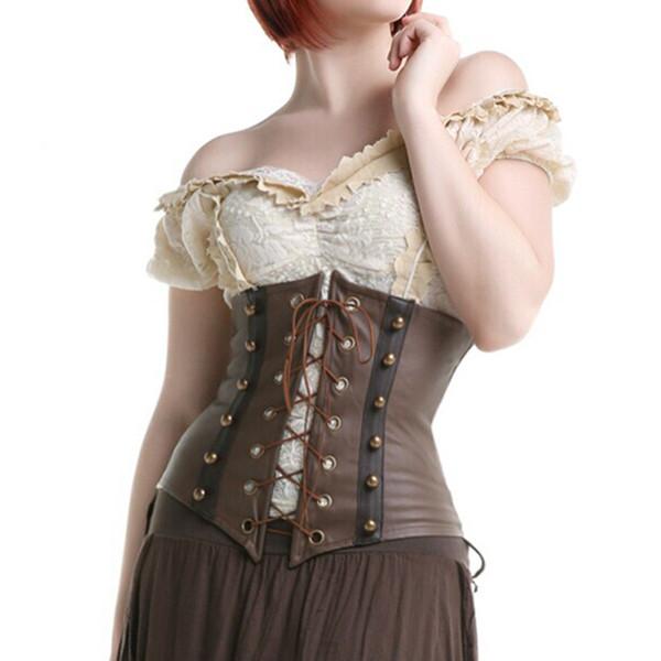 2017 Sexy Gothic Steampunk Corsetto in ecopelle Underbust Brown Body Shaper Corsetto Bustier Corsage Lace Front Per Le donne S-XXL