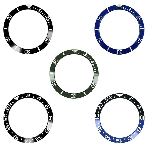 10 colors 38/30.6mm Ceramic GMT Bezel Insert Watches SUB Mens Watch Replace watch face scale circle Black Blue gold Green
