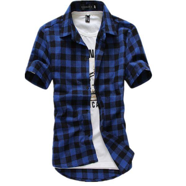Bleu Rouge Noir Chemise À Carreaux Hommes Chemises 2019 Nouvel Été De Mode Chemise Homme Hommes Chemises À Carreaux À Manches Courtes Chemise Hommes Blouse