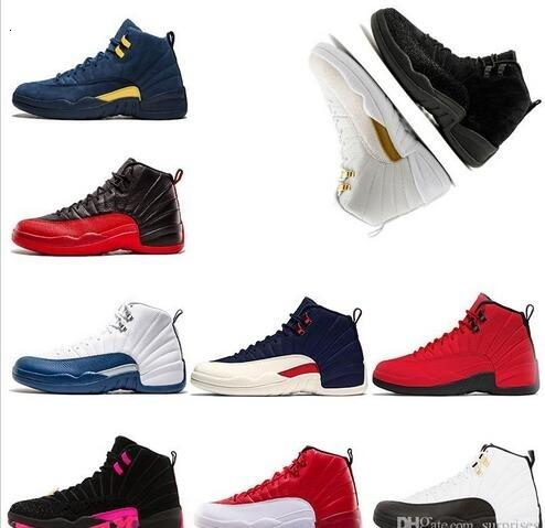 Nuovo scarpe da basket 12 12s Lana influenza gioco azzurro dell'università PL12 12s lana influenza gioco azzurro dell'università Playoff Gamma Blu scarpe sportive dimensioni 7-13