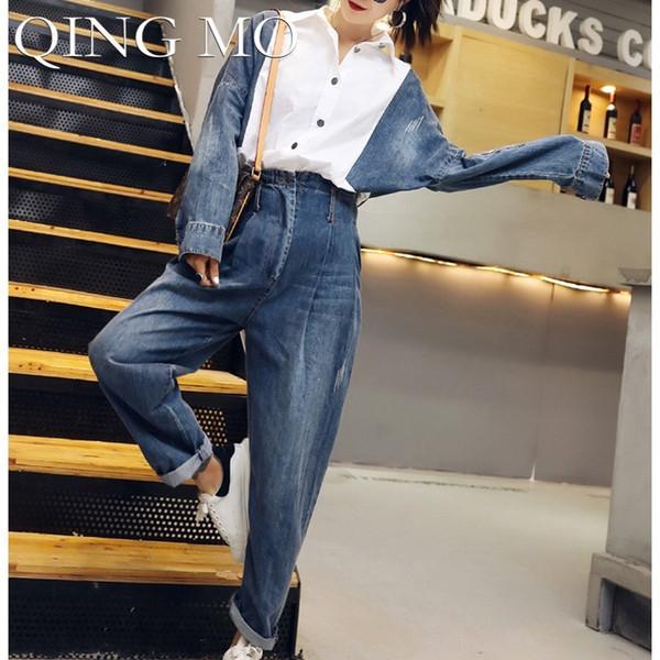QING MO Patchwork Jeans Macacões Mulheres Branco Manga Longa Macacões Azul Calças Compridas Ternos Denim Único Macacão Breasted ZLDM086