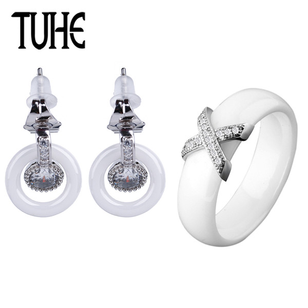 New Elegant Ceramic Lady Jewelry Set Fashion Round Crystal Earrings And 6MM Wide X Smooth Ceramic Rings Wedding Women Jewelry