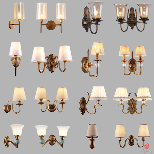 classical brass wall lamp europe style antique copper finishing wall lights art decorative bedroom foyer home fixture dynasty ing