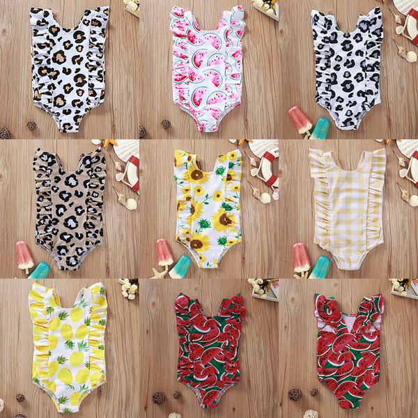 best selling INS Baby One-Pieces Girls Sunflower Leopard Print Swimwear Kids Summer Watermelon Swimsuits Child Triangle Beachwear Bikini Clothing M1795