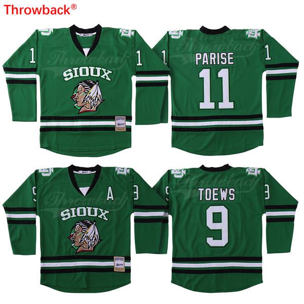 new product 30857 043a5 2019 USA Zach Parise Jersey North Dakota Sioux Jonathan Toews 9 Green  BLACKHAWKS NCAA University Hockey Jersey From Throwbackstore, $50.77 | ...