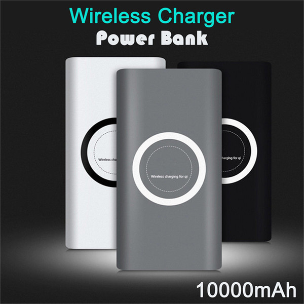 best selling Qi Wireless Charger 10000mAh Battery Power Bank Fast Charging Adapter For Samsung Note S8 iPhone 8 iphone X XR XS with Retail Box