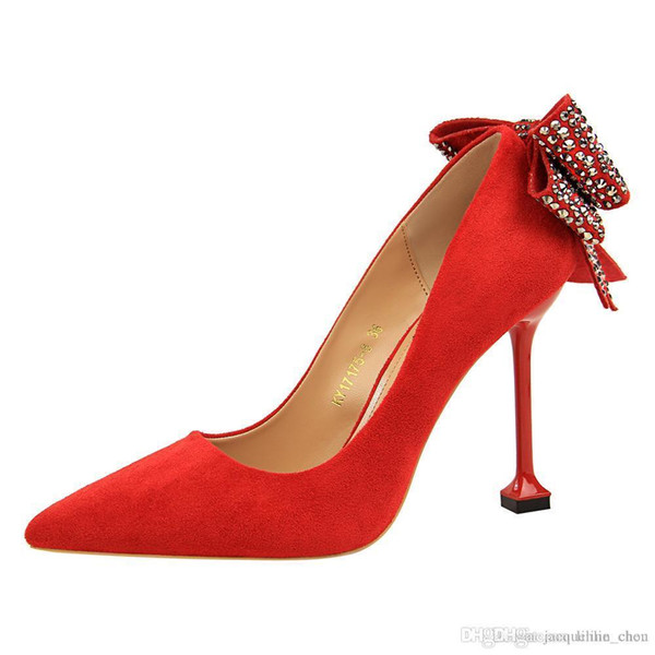 Lucky2019 Solid Color Quality Suede Pointed Toe Back Rhinestone Bowties Women Sexy Red Heel Wedding Shoes 17175-8