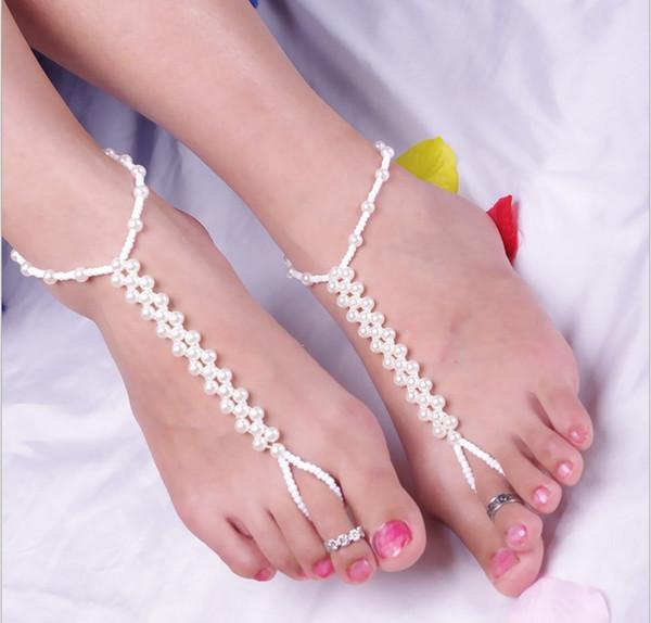 New Hot European Style Fashion Joker Handmade Beaded Woven Imitation Pearl Anklet Elastic Finger Anklet