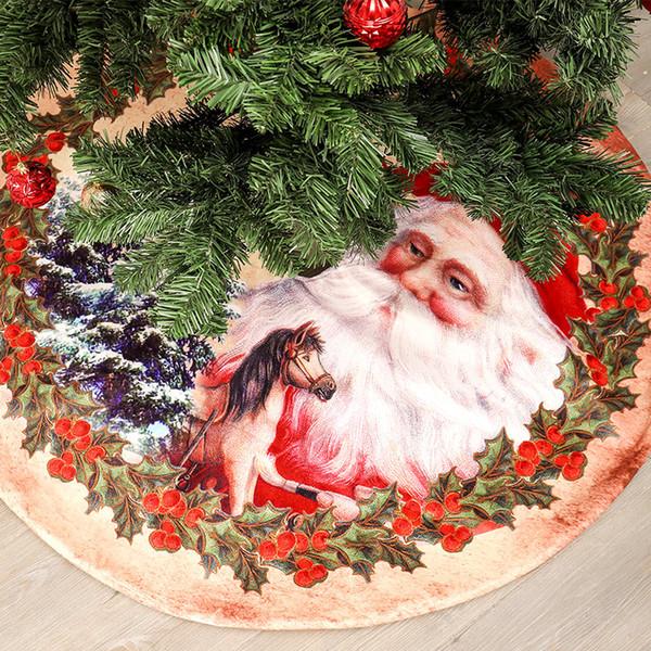 Falda de árbol de Navidad de tela no tejida Decoración de feliz Navidad para el hogar Faldas de árbol de Natal Decoración de fiesta de Navidad de Navidad de año nuevo