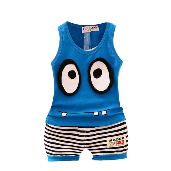 good quality baby boys summer clothing sets newborn boys cartoon vest+shorts suits casual striped tracksuits kids boys sports outfit