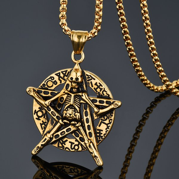 Star Necklace Skeleton Head Long Chain Male Retro Fashion Accessories Collar Skull Necklace Punk Party Jewelry