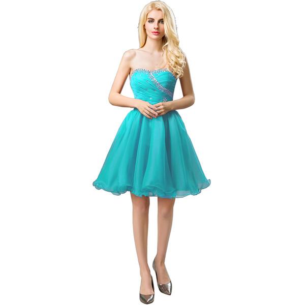 Vestidos de fiesta cortos de organza Puffy Sweet 16 vestidos de fiesta de cumpleaños Corazones de novia Volver Vestidos de quinceañera con cuentas de cristal