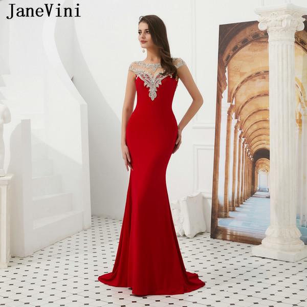 JaneVini Sexy Mermaid Red Lange Abendkleider 2019 Neue Ankunft Backless Perlen Satin Sweep Zug Pageant Formale Party Kleider Robe De Soiree
