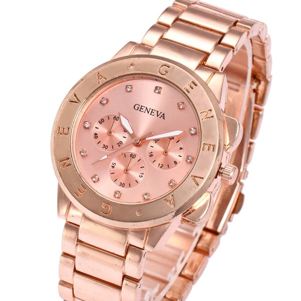 fashion casual geneva diamond fake three eyes steel strip classic dress male female couple quartz watch