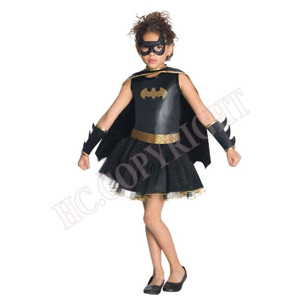 Girls Halloween Cosplay Costumes Batgirl Fantasia Vestido Fancy Tutu Dress Kids Disguise Carnival Party Outfit