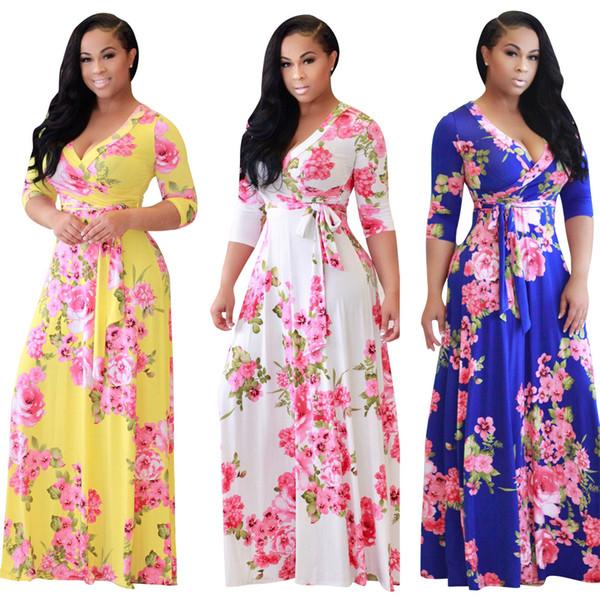 Women Flora Print Maxi Dress Deep V-neck Spring Summer long Skirts Stretchy Beach dress lady clothes desinger Spring skirts with sahses 666