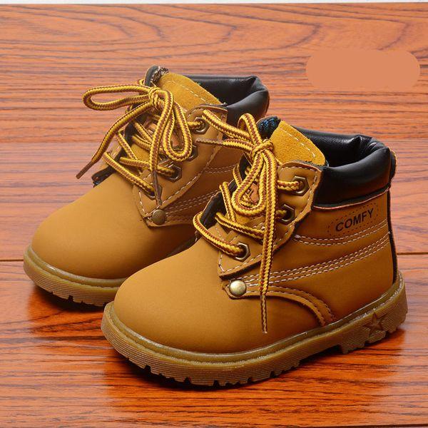 Детская обувь PU водонепроницаемый младенца Matin Boots моды корейской версии Дети Сапоги Ткань износостойких Mid Сапоги каблука мотоциклов