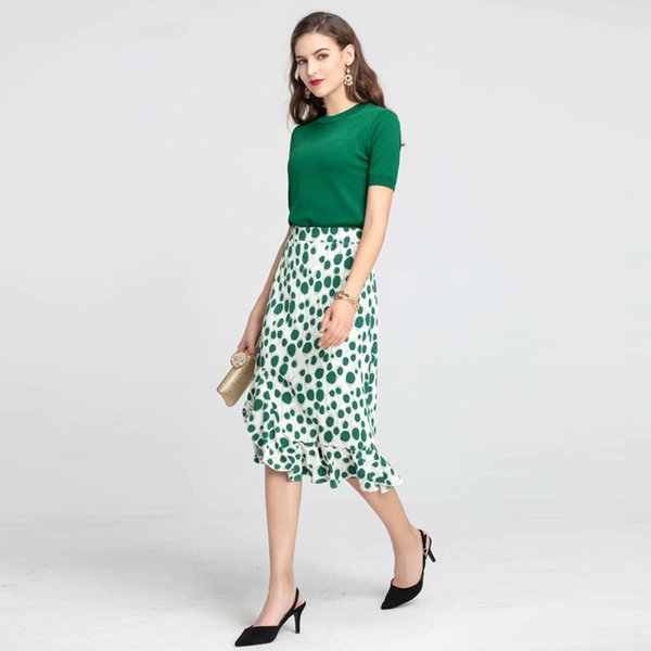Women Elegant Solid Color Green Knit Sweater Tops Slim Short Sleeve Pullovers + Sexy Mermaid Skirts Suit Office Two Piece Set