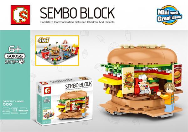 SD601055-58 MINI Street Series Ice cream/hamburger/ shop Building Blocks Bricks Children Educational Toys Model Gifts
