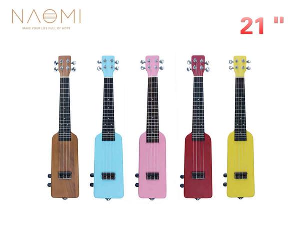 best selling NAOMI 21'' Soprano Electric Ukulele Silence Electric Ukelele Bottle Shape 4 String Ukulele Accessories W Gig Bag