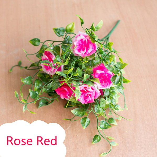 7heads 1 Branch Artificial Plants Grass Fake Rose Floral Plastic Eucalyptus Flowers For Birthday Wedding Party Garden Decoration
