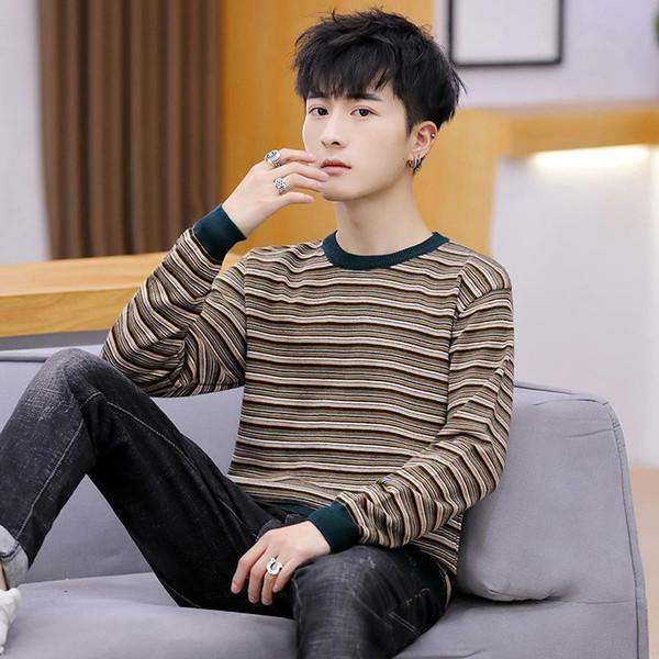Nueva rayas suéteres de los hombres Casual Otoño Invierno O-cuello de la camisa jerséis de punto Slim Fit de manga larga para hombre de los suéteres masculino Ropa