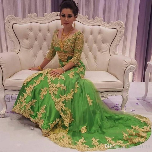 Muslim Evening Dresses Wear New Arabic Sweetheart Gold Lace Appliques Beaded 3/4 Sleeves Tulle Green Dubai Abaya Party Dress Prom Gowns